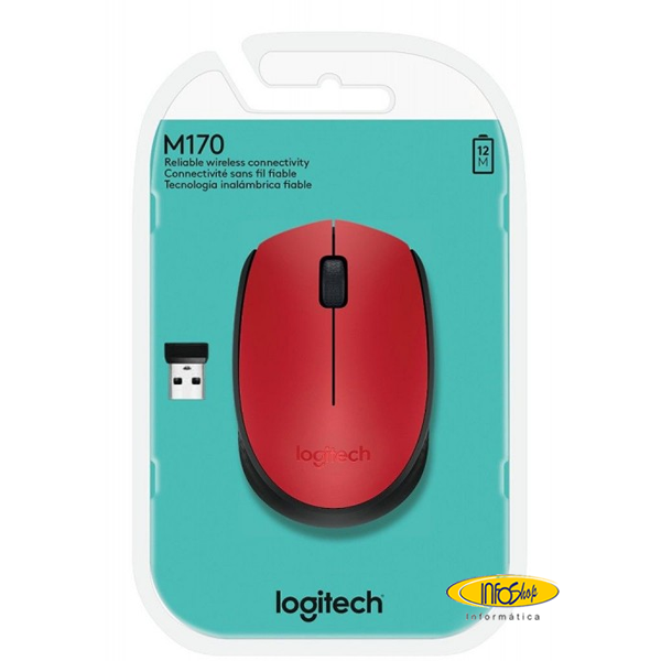Mouse sem fio logitech vermelho m170 .fw